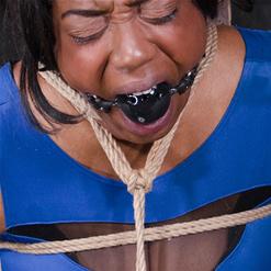 Jack Hammer canes Lisa Tiffian ass in rope bondage