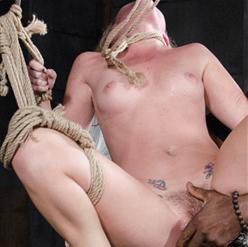 Sasha Heart in rope bondage hogtie on floor