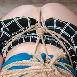 Aria Alexander in elaborate, strict rope bondage