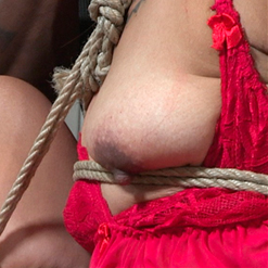 Chillycarlita in rope gag and breast bondage harness