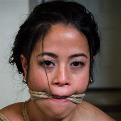 Chillycarlita in sexy, rope bondage suspension and gag
