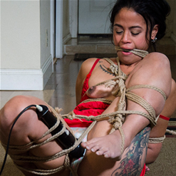 Chillycarlita tit pinched by rope bondage