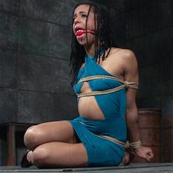 Kira Noir tits covered in deep throat drool in rope bondage
