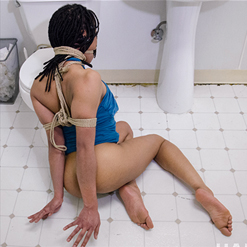Kira Noir drooling from dick sucking in neck rope