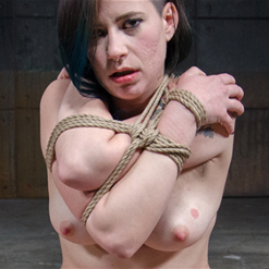 Freya French in stockings and sexy rope bondage