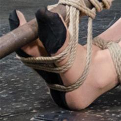 Freya French nipple pinched by rope bondage twist