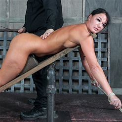 London River spreads her legs in inverted suspension