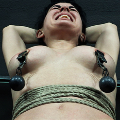 Olive Glass bound to pole with crotch rope