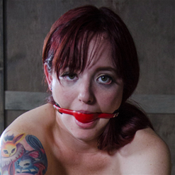 Ariel is spread and bound with rope