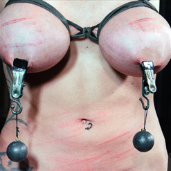 Rain DeGrey electrical tape gag and blindfold