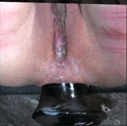 Rain DeGrey bent over in metal bondage and fucked raw