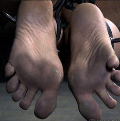 Alina West feet in metal bondage