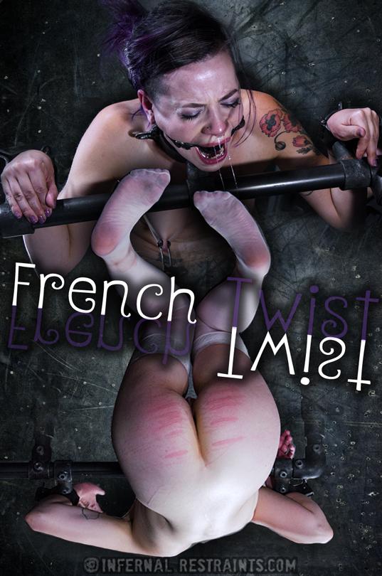 Freya French with black ball gag and metal collar bondage