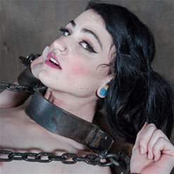 Lydia Black spread for pussy whipping in metal floor bondage