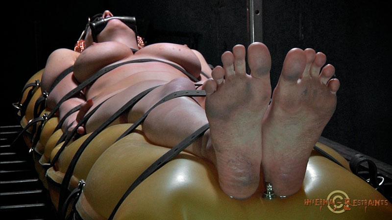 Ebony black barefoot hogtied bondage