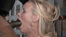 Huge black cock takes Simone Sonay's mouth