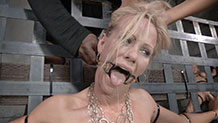 Blonde MILF Simone Sonay gets gagged and bound