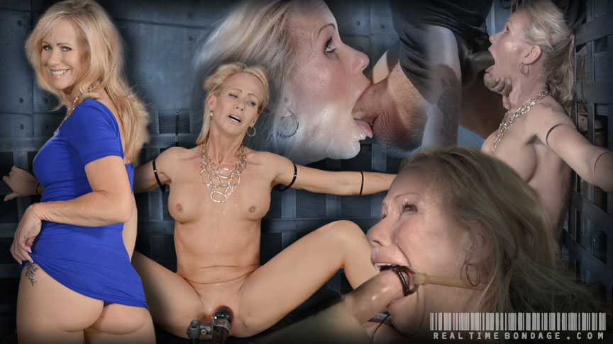 Sexy MILF Simone Sonay does brutal deepthroat while bound