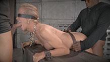 Blindfolded Simone Sonay taken in both ends in tight bondage
