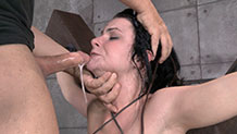 Pale brunette Veruca James drools on hard dick
