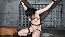 Bound submissive Veruca James in cums strict shackles