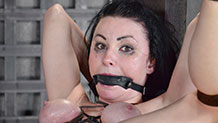Messy and gagged Veruca James in belt bondage