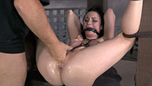 Restrained and gagged Veruca James finger fucked to orgasm