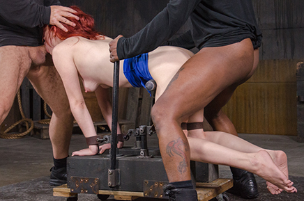 Pale Violet Monroe roughly fucked by BBC bound doggystyle
