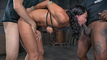 Bound and blindfolded London River waits on her knees