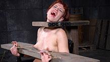 Elizabeth Thorn head locked in wooden bondage