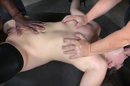 Endza's small breasts grabbed while she deepthroats