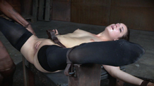 A facefucked Endza cums hard in bondage
