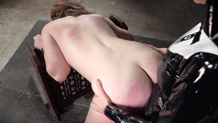 Bound Harley Ace strap on fucked by Rain DeGrey