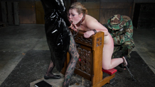 Suffering Harley Ace is facefucked and vibrated