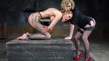 Rain DeGrey gets lesbian fucked by Cherry Torn's strap