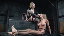 Cherry Torn in thigh high stockings, torments nude Rain