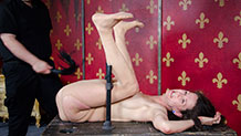 Paintoy Emma in ass spread metal bondage pussy flogging