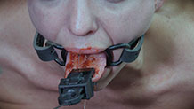 Abigail Dupree fingers locked in metal bondage hand torment