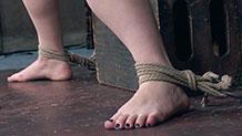 Dresden's ankles tied spreading legs rope bondage