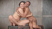 Nikki Darling and Milcah Halili hugging naked