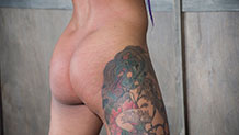 Nikki Darling's colorful tattoo and perfect ass