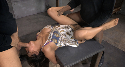 Latina Sub Selma Sins takes two cocks in Harsh Bondage.