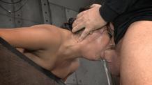Selma Sins does brutal drooling deepthroat