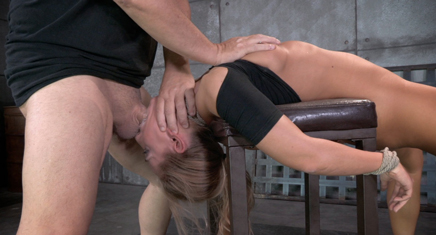 Sexy Carter Cruise is bound bent over a chair and facefucked