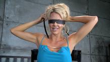 Busty blonde Courtney Taylor blindfolds herself