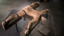 Bendy flexible Wenona oiled and bound in the splits