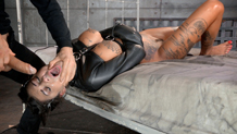 Tightly restrained sex slave Bonnie Rotten deepthroats