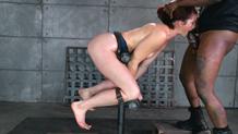 Bound dungeon sex slave Cici Rhodes epic deepthroat on BBC