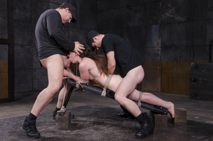 Tied up Amy Faye deepthroating as she is fucked by hard cock