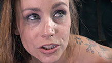 Sexy Bella Rossi deepthroats while roughly fucked in bondage